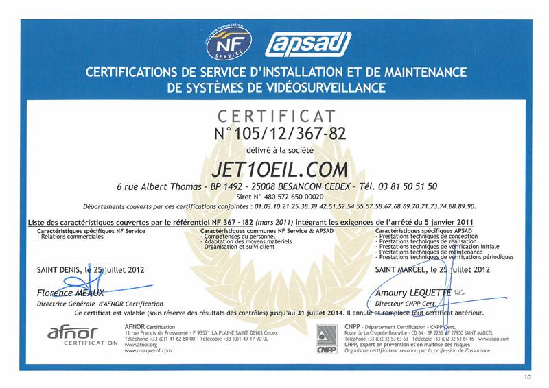 Certification NF Service et APSAD NF 367-I82